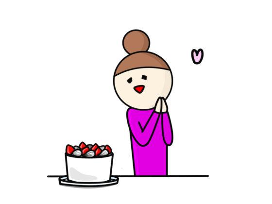 ご褒美のケーキに喜ぶ女性