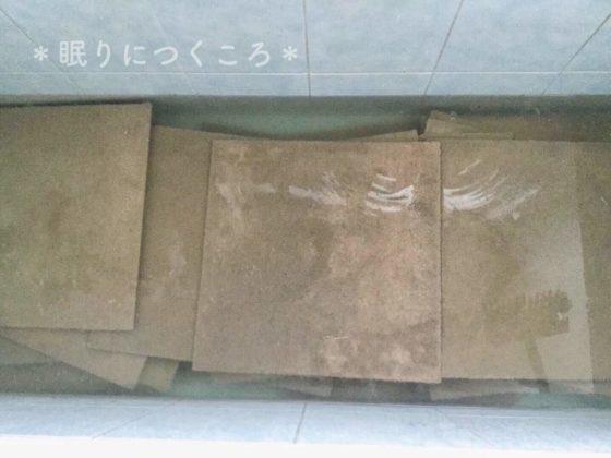酸素系漂白剤でタイルカーペットを漬け置き中