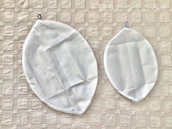無印良品の両面使える洗濯ネット丸型大と小の大きさ比較