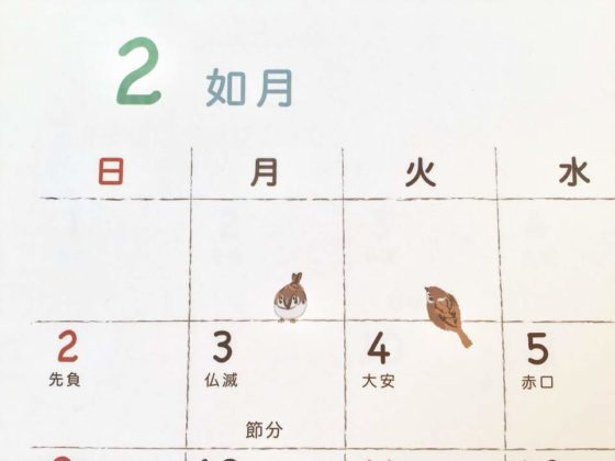カレンダー中の小さなイラストもかわいいもりとしのりたびねこカレンダー