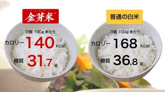 金芽米と白米100gあたりの糖質・カロリー比較