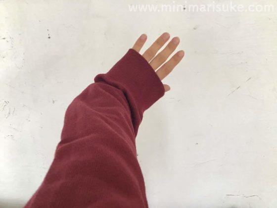 ユニクロのボアスウェットフルジップパーカーのメンズ用Lを女性が着たときのサイズ感