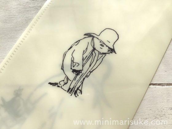 ラインアートがおしゃれな熊のパディントンチケットホルダー白