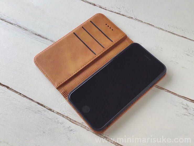 HARURO楽天市場店のPUレザー手帳型スマホケースとiPhoneSE(第2世代)